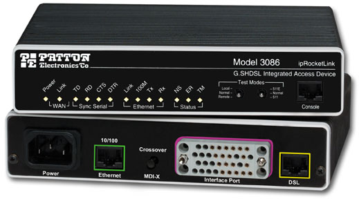 Patton ipRocketLink™ Model 3086 G.SHDSL Router-Modem with Serial WAN & Ethernet Interfaces