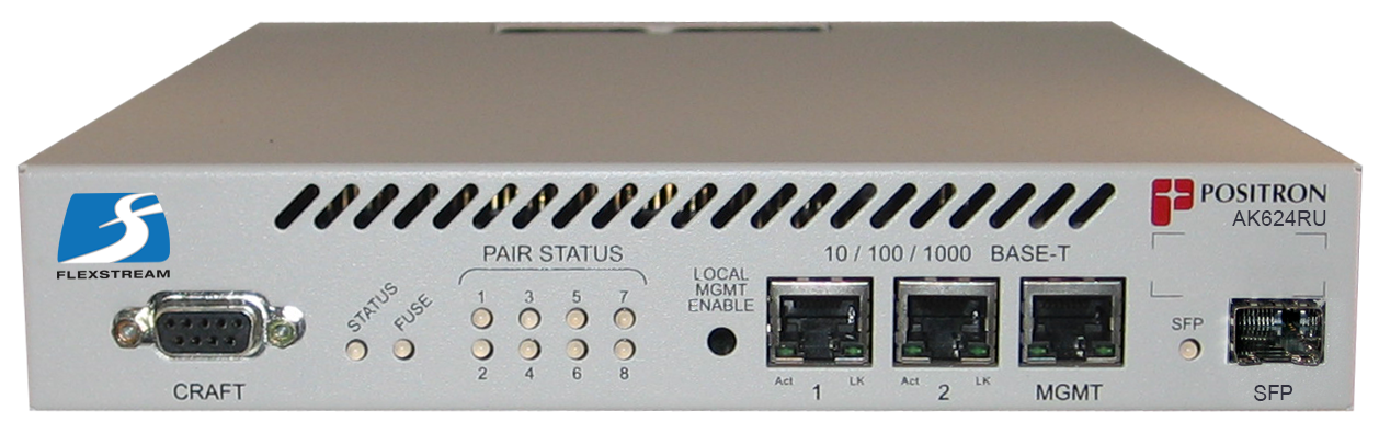 Positron AK624RU - Remote Unit, 8 Port Ethernet Compact Unit, 800 Mbps max Asymmetric, AC Powered, excl mounting & AC Adaptor