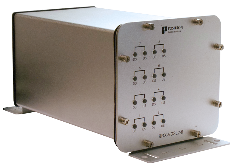Positron BRX-VDSL2-8 - IP65 sealed enclosure (BRX-VDSL2-8-C) with 4 xBRX-VDSL2-M modules (total 8 amplified VDSL2 pairs)