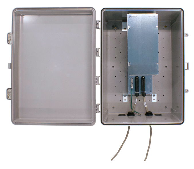 Positron BRX-XLR-24 - IP65 sealed enclosure (BRX-XLR-24) with a 24-pair shelf (BRX-24S) and 12 BRX-XLR-M modules (total 24 ampli