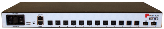 Positron GAM-12-M G.hn Access Multiplexer (GAM) with 12 dual-pair (MIMO) copper ports and 2 x 10Gbps SFP+ ports. AC 110-220V Pow