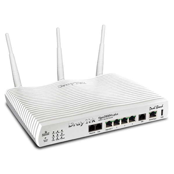 DrayTek Vigor 2860n Plus Triple-WAN VDSL/ADSL2+ Broadband Router