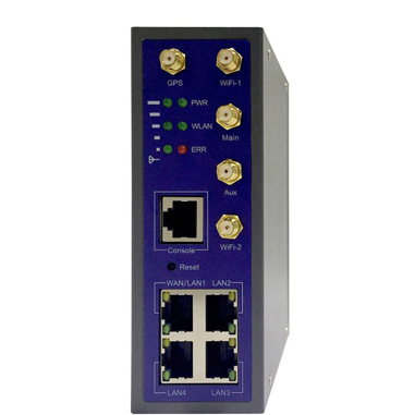 Data Connect Industrial Cell Router 300m , 802.11AC, 5G Network, 4-Gig, 1-RS232, 3 IO Ports