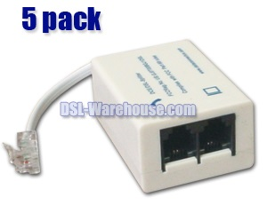 DSL ADSL Splitter / Filter - 5 Pack