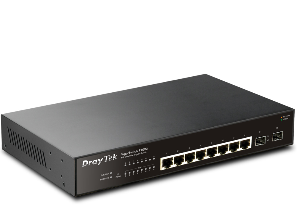 Draytek VigorSwitch P1092 8-Port Smart Lite PoE Switch