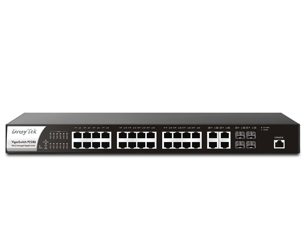 Draytek VigorSwitch P2280 24-Port PoE L2 Managed Gigabit Switch