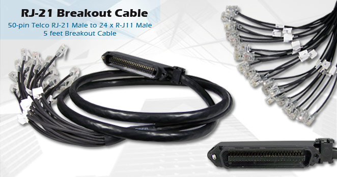 dsl warehouse  50 pin telco rj 21 female to 24 x rj 11 male breakout cable for use with adsl2 ip dslams